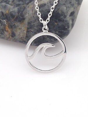 - Sterling Silver 925 Ocean Wave Pendant Necklace 13mm