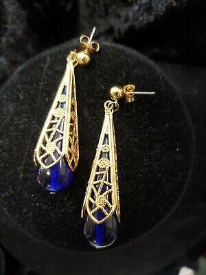 ROYAL TEARDROP Vintage Goldtone Filigree Victorian Style Dangle AVON Earrings -