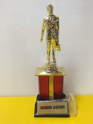 "Dundie Trophy Award The Office TV Dunder Mifflin Dundee 10 1/2""  w/ 6 plates"