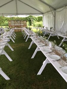 White picnic style tables