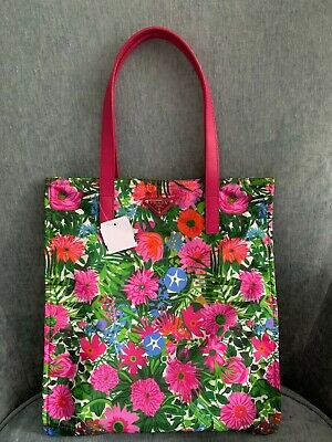 NWT Prada Pink Green Multi Floral Print Tote Bag Leather Trim
