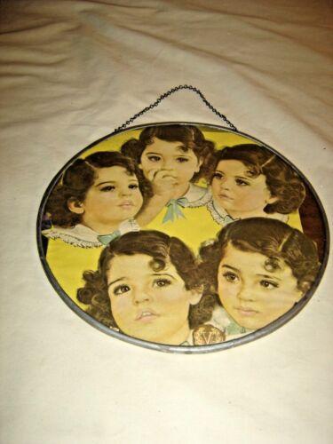 """Antique Dionne Quintuplets Flue Cover 9 3/4"""" diameter.  9563"""
