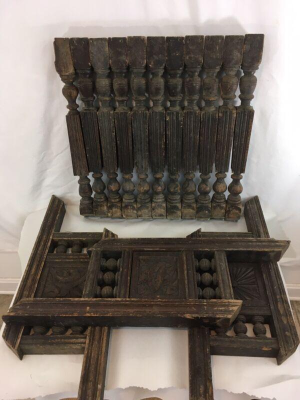 Antique Vtg Carved Distressed Wood Baluster Spindle Porch Rail Banister Spokes
