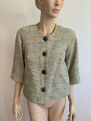 VINTAGE JONES NEW YORK YELLOW STRIPED TWEED-LIKE JACKIE O JACKET BLAZER SIZE 6 S
