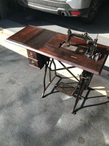 Antique 1877 Wheeler & Wilson No. 8 Sewing Machine Treadle Cabinet Running