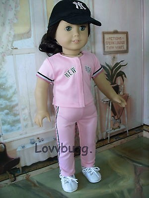 "Lovvbugg Pink Baseball Yankees w Hat Uniform for 18"" American Girl Doll Clothes"