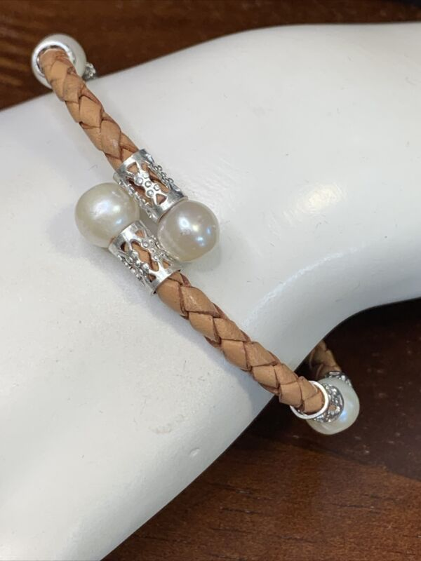Ladies Silver Tone Real White Pearl  Bracelet Woven Brown Leather Flex Style