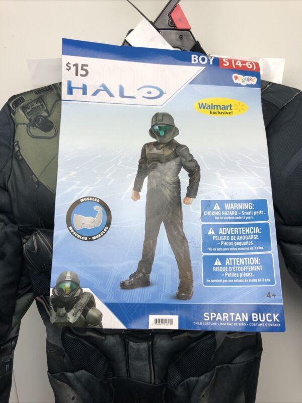 Halloween Costume Boys Small  4-6 HALO Spartan Buck Muscle Chest Gamer  Bin GJ
