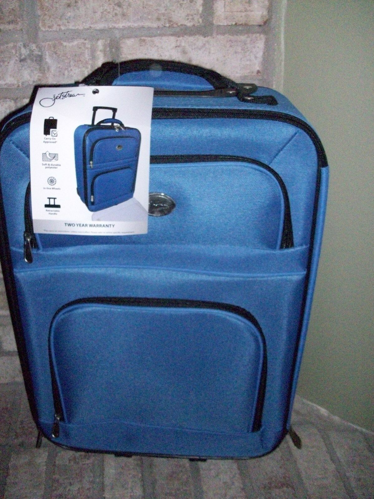 Jetstream 20 Inch Lightweight Luggage Softside Carry On Suitcase Blue  - $29.75