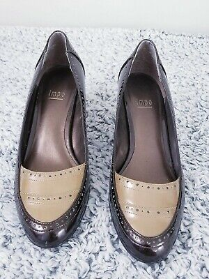 Impo women's slip on brown/caramel block heel shoes , size 8 1/2M