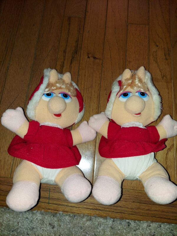 Vtg 1987 MISS PIGGY  BUNDLE Christmas Plush Doll Muppet Babies 80