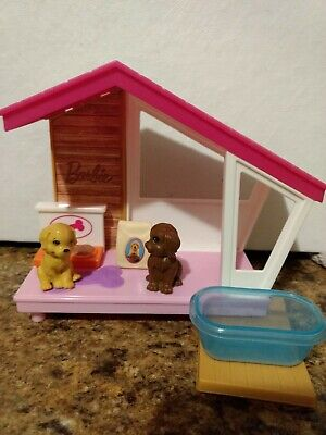 2018 Mattel Barbie Pet Puppy Dog House, 2 puppies, bath, and food