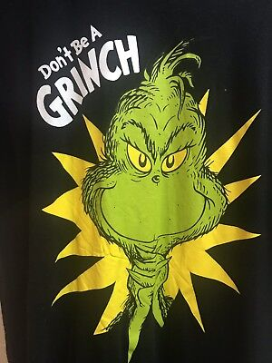 "Dr. Seuss The Grinch ""Don't Be A Grinch!"" Adult Large Christmas T-shirt (Grinch Clothes)"