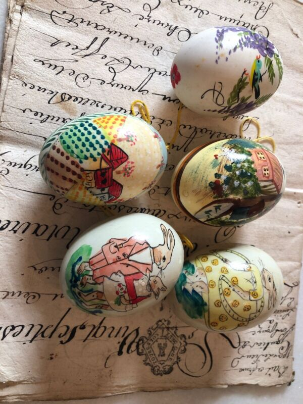 5 Vintage Look Handmade Real Easter Egg Ornaments Decorations Well Done