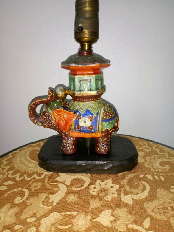 Antique Satsuma Elephant Lamp