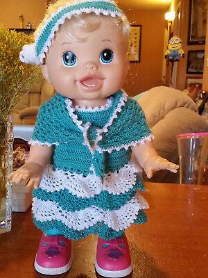 "BABY ALIVE ""I WANNA WALK"" ...BEAUTIFUL FASHIONABLE HAND CROCHET DRESS/SHAWL OOAK for sale  Chaparral"