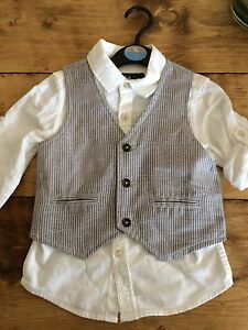 BNWT Boys Waistcoat Shirt Smart Set Outfit Wedding Christening Party 2-3 Years
