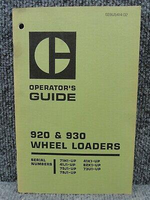 Oem Caterpillar Cat 920 930 Wheel Loader Operators Guide Manual Sebu5414-02