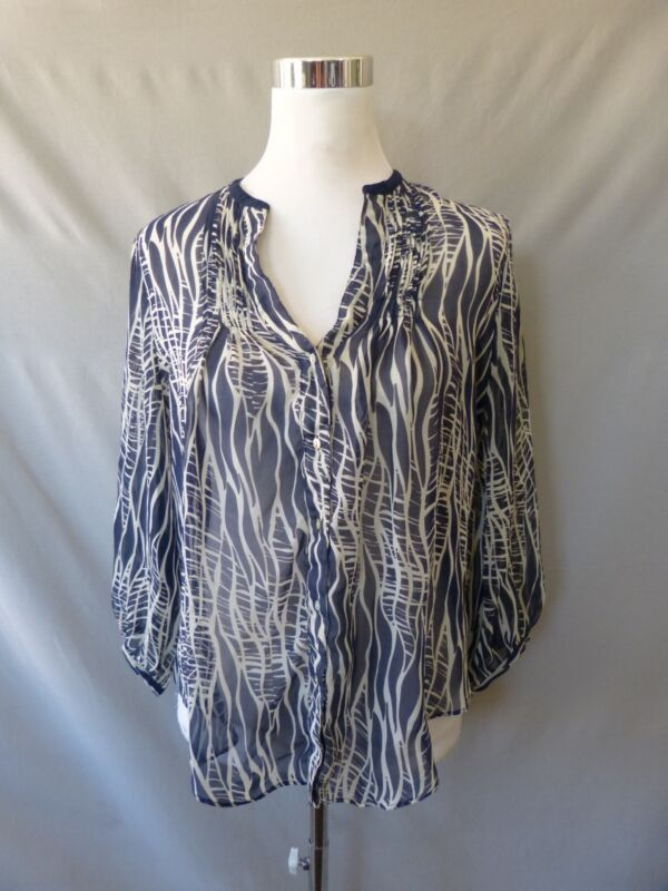Fei Anthropologie Silk Blue Beige Abstract 3/4 Sleeve Sheer Tunic Blouse Size 6