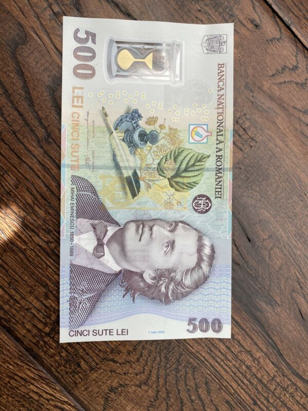 RARE 500 lei 2005 Romania polymer banknote