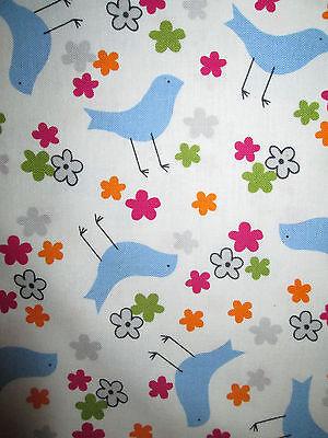 WOODSTOCK LOVE BIRDS BLUE PEACE FLOWERS COTTON FABRIC FQ  ()