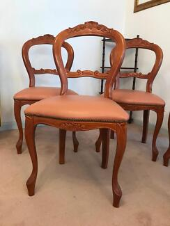 Genuine leather baroque style dining chairs x 6