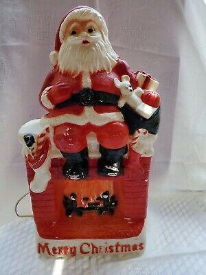 "Vintage 1970s Dapol Merry Christmas 17"" Santa Sitting On Fireplace Blow Mold"