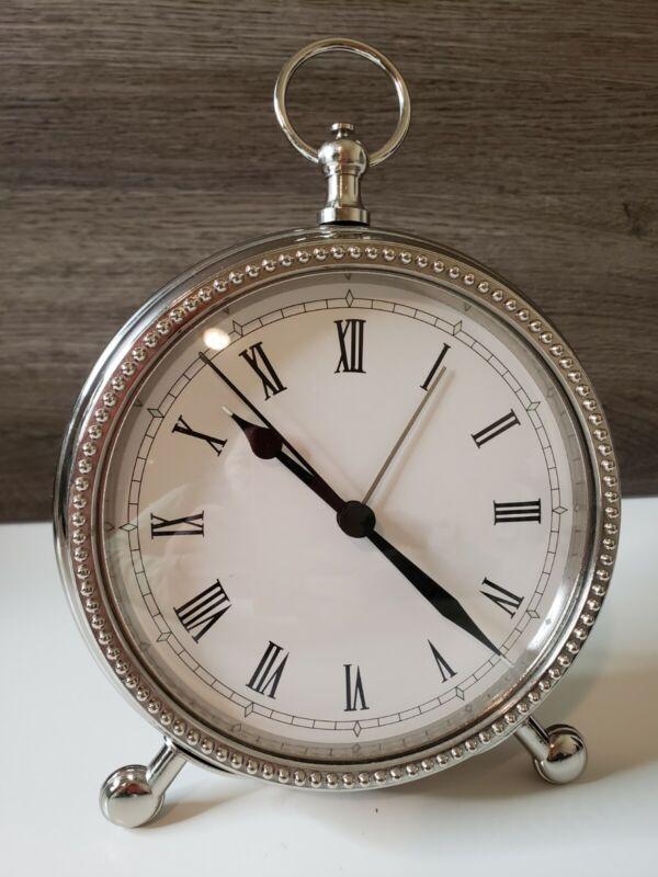 "Pottery Barn Pocket Watch Alarm Clock 6"" Nickel Finish Clock Roman Numerals"