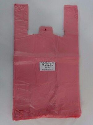 16 Pink Plastic T-shirt Bags W Handles 11.5 X 6 X 21 Retail Shopping