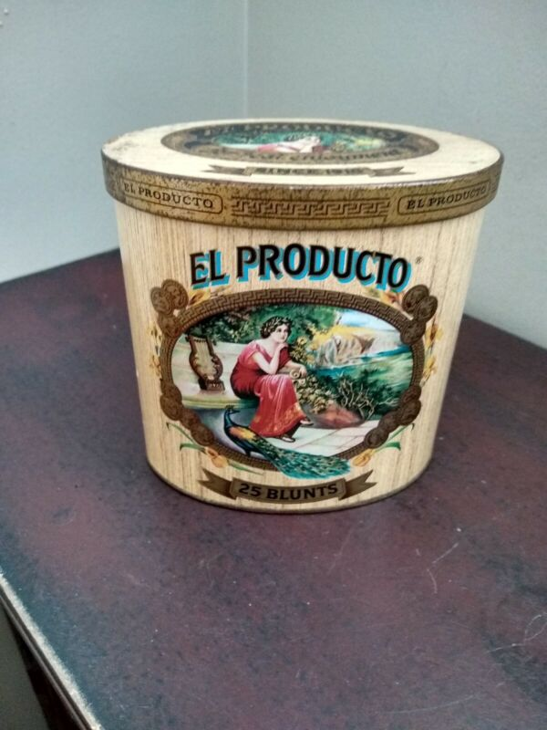 """VINTAGE, """"EL PRODUCTO"""", EMPTY TOBACCO TIN / ADVERTISING CANISTER,25 BLUNTS !!!"""