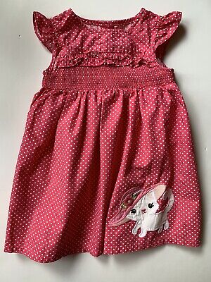 Gymboree Baby Girls - Pink Polka Dot Dress with Kitten -18-24 Months EUC