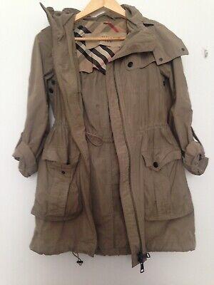 Burberry waterproof summer coat size 6 olive green with hidden hood