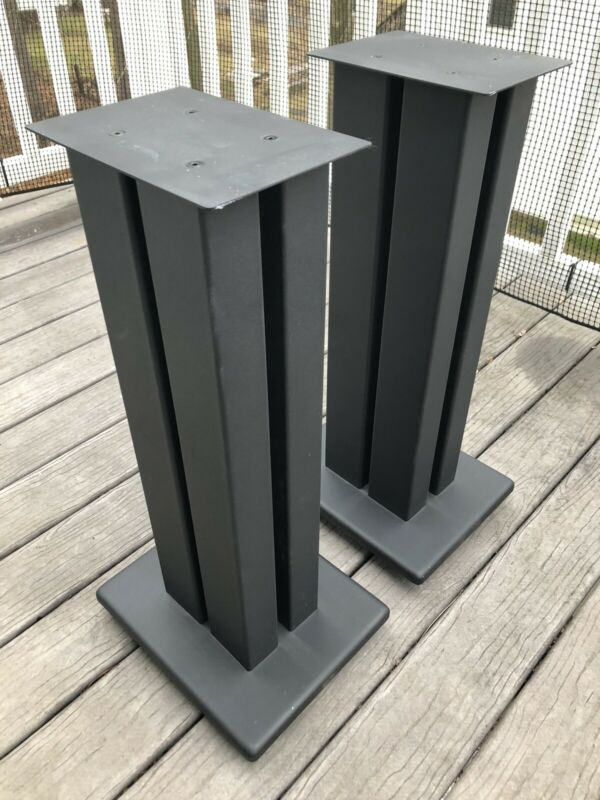 """4 Post Heavy Duty Speaker Stands 24"""" With Spikes & 2 extra large top plates"""