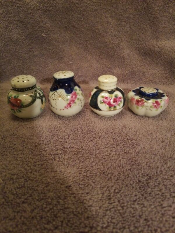 VINTAGE HAND PAINTED FLORAL PORCELAIN   SHAKERS LOT OF 4