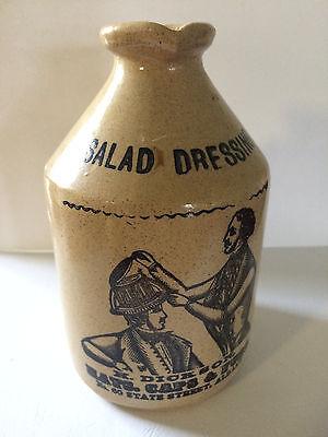 Salad Crock (Moira Pottery stoneware jug/crock jar/Salad Dressing Bottle - H. Dickson adverti )