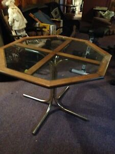 Table with glass top. Octagon shape