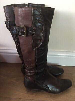 Khrio Distressed Black / Brown leather Cowboy boots size 37 handmade in Italy