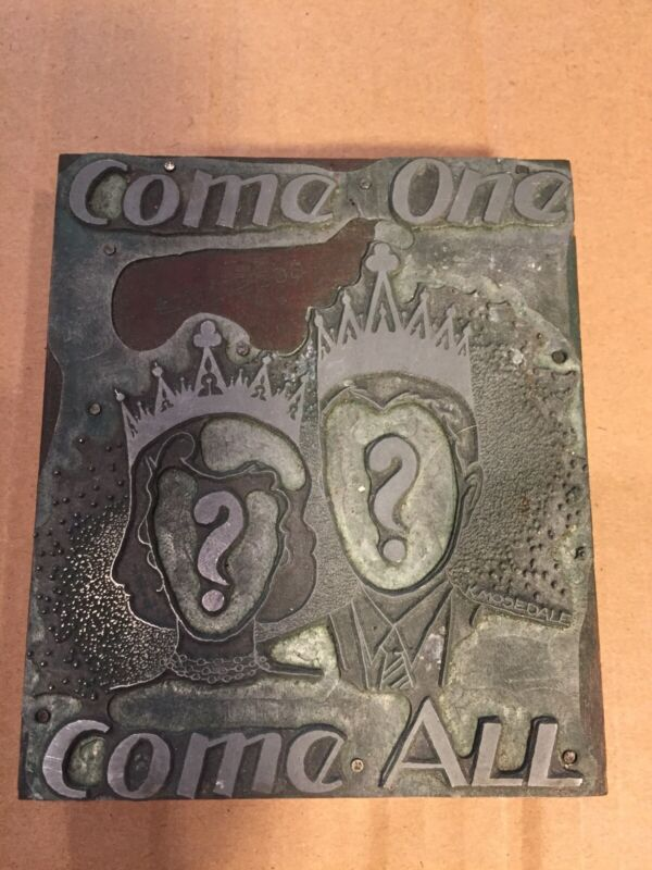 Large Wood Printing Letterpress Printers Block King Queen Come One Come All