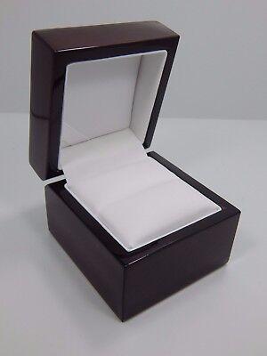 Premium Engagement Ring Jewelry Gift Box Mahogany Brown Wood Wooden