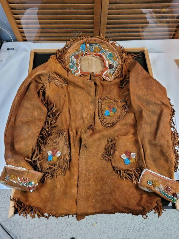 Antique Native American Iroquois Mohawk Beaded Fringed Buckskin Leather Jacket