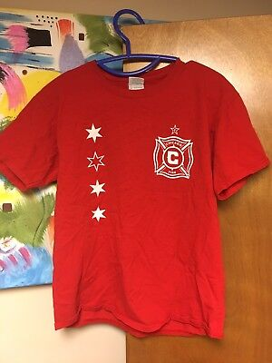 Chicago Fire Red T-shirt Youth XL Soccer Club Football MLS Signed Autograph
