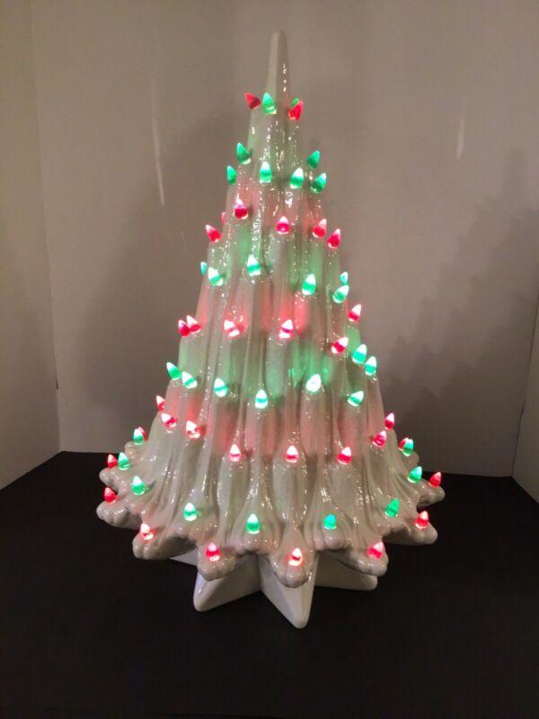 "VTG ATLANTIC MOLD 20"" WHITE *LAVA* CERAMIC CHRISTMAS TREE STAR BASE *BEAUTIFUL*"