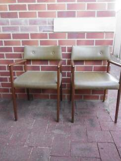 Mid-Century Teak and Vinyl Chairs
