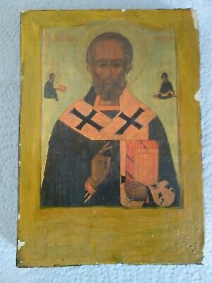 "Vintage Russian Religious St Nicholas Icon wooden 5,8""x 4,1""x 0,6"""
