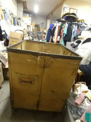 Vintage Antique Industrial canvas rolling laundry cart pick up