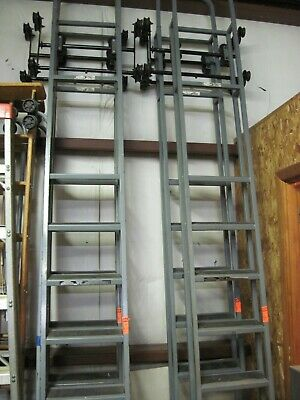 Lot Of Four Steel Cotterman Industrial Rolling Ladders Rated 300 Pounds
