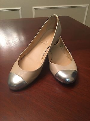 WOMEN'S J CREW NUDE & SILVER LEATHER FLATS SIZE 8 MADE ITALY