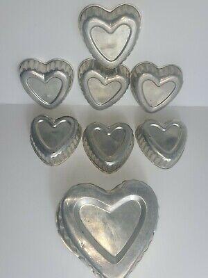 Vintage Lot of 7 Aluminum Heart Shaped Mini Cake/Jello Molds and 1 Larger Mold