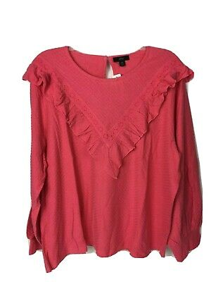 J Crew Womens Scoopneck Ruffle Trim Honeycomb Knit Cotton Blouse XXL Pink Honeycomb Scoop Neck