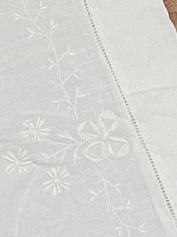 Antique LINEN Hemstitch and Embroidered Floral Set of Pillowcases White